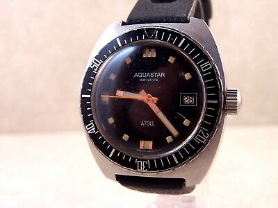 Vintage Aquastar Geneve Atoll Automatic Swiss Made Divers Watch w/Tropic Band