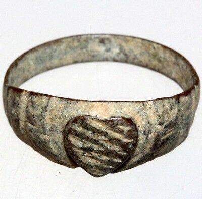 Late Post Medieval Bronze Ring Decorated With A Heart - Love Symbol Ring