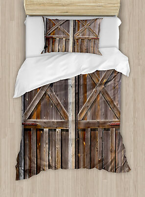 Ambesonne Rustic Old Wooden Barn Door of Farmhouse Duvet Cover Set