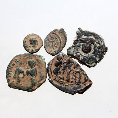Lot Of 5 Uncertain Byzantine & Arab Byzantine Bronze Coins
