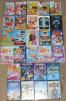 DVD wholesale lot of 28 Children Family movies TV shows Barbie Monster High