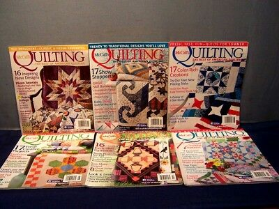 LOT of 6 McCALL'S QUILTING MAGAZINES 2014 JAN.-OCT. 2015 JAN/FEB. QUILT PATTERNS