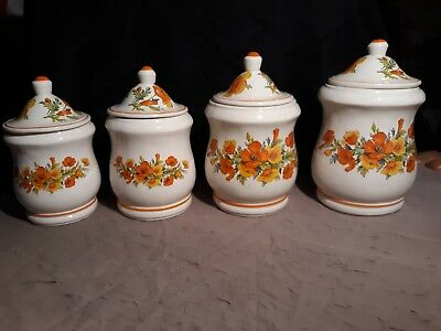 70s Porcelean Canister Set Beautiful Orange