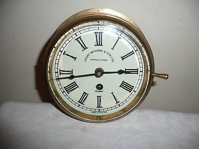 Brass Ships Bulkhead Clock, Sold For Parts, Case in V G  Condition,Glass Perfect