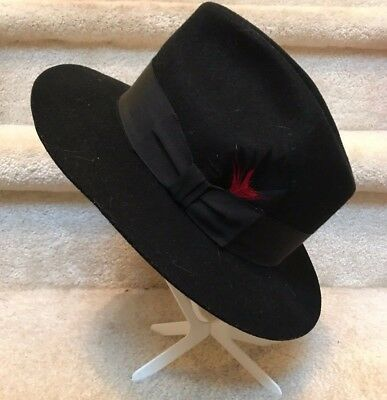 VINTAGE MALLORY BY Stetson Brown Wool Fedora Hat   Feather. Size 6 3 ... f3e3ab4bfcb