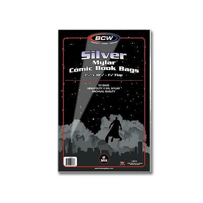 1 Pack of 50 BCW Silver Age Comic Book Mylar Storage Bags Sleeves 2 mil