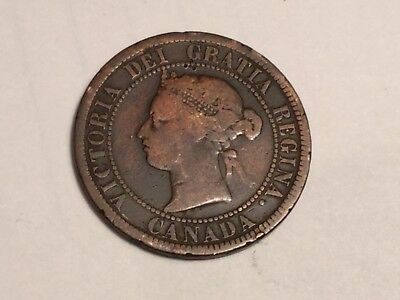 CANADA 1876-H 1 cent coin circulated, worn