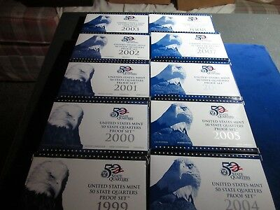 Ten 1999-2008-S United States Proof State Quarter Sets Original Box & Papers