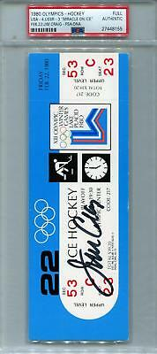 """Jim Craig Signed 1980 U.S. Olympic Hockey """"Miracle On Ice"""" Russia Game Ticket"""