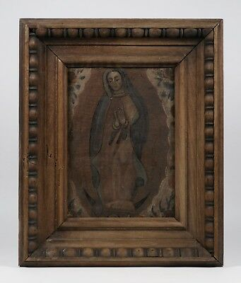 Early Mexican - Spanish Colonial Retablo Painting on Canvas - 18th-19th Century