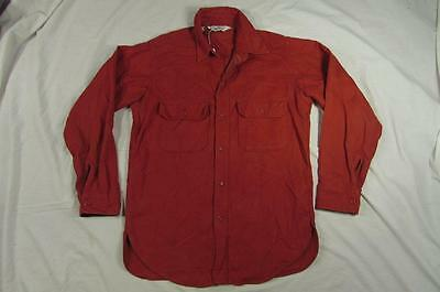 Vtg 60s 70s Woolrich Cotton Button Up Work Shirt Flannel Nice Shape M USA Made