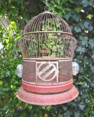 Antique Vtg Victorian BIRD CAGE Exotic Orig Hendryx Metal Wire Mesh SWING Cups