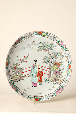 Large Porcelain Plate Japanese Picture Japan Woman with child Ca 34 cm (60053)
