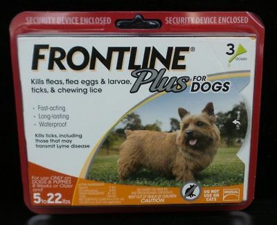 Frontline Plus For Small Dogs 5-22 lbs -3 Doses /3 Month Supply SEALED Flea Tick
