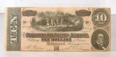 Original 1864 Confederate States Ten Dollar Currency Note / $10 Bill Type 68