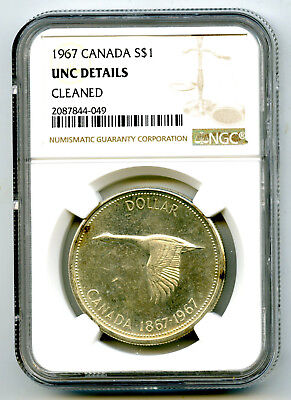 1967 $1 Canada Silver Dollar Ngc Unc Details Cleaned Flying Goose