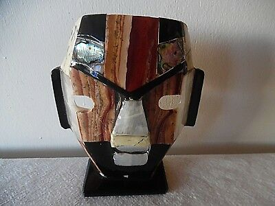 Aztec Mayan Tile Mask On Base Made In Mexico