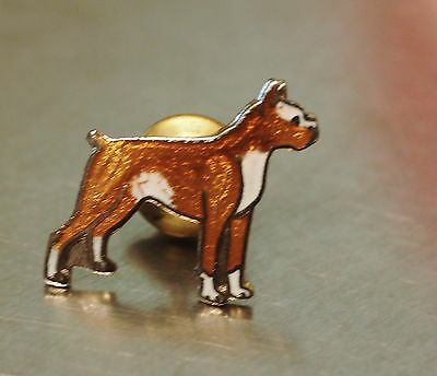Cloisonne enamel SMALL Boxer dog Pin  vintage Old New Stock  Nice! Jewelry *