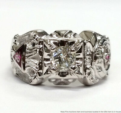 Vintage White Gold 32 Degree Masonic 0.71ct Fine Diamond Ruby Mens 11.6g Ring