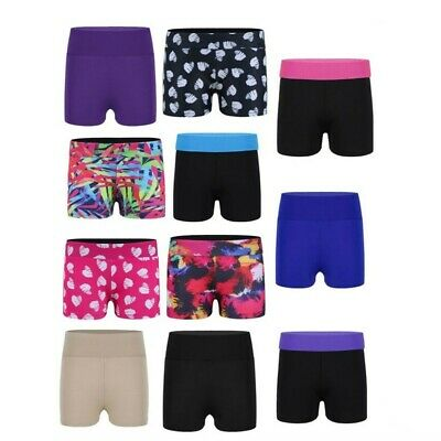 Girls Children Stretchy Hot Pants Shorts Dance Swim Gym Tutu Shorts Age 4-14yrs