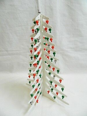 Vintage White Plastic Folding Christmas Tree with Ornaments 12""