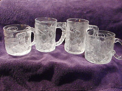 McDonald's BATMAN FOREVER GLASS Mugs Complete Set/4 France 1995 Vtg. Never Used