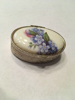 Vintage Porcelain Flower Pill Box