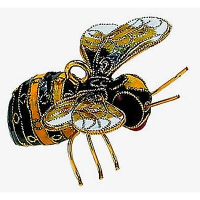 Black and Yellow Bumble Bee Cloisonne Metal Christmas Tree Ornament Bee New