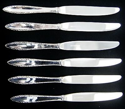 """Lot Of 6 Lunt LACE POINT Sterling Silver/Stainless Dinner Knives 9"""" (A5361)"""