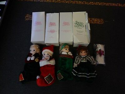 New Lot Of 4  Precious Moments Stocking Doll Lot Christmas Carol Jingles + More