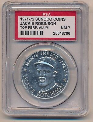 JACKIE ROBINSON 1971-72 Sunoco Top Performers ALUMINUM COIN PSA 7 NM DODGERS HOF