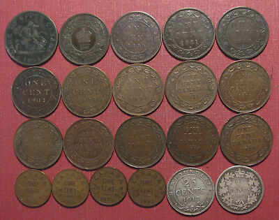 LOT OF (13) CANADA LARGE CENTS PLUS PRE-CONFEDERATION TOKENS, SILVER & SMALL 1c!