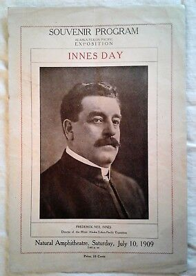 "AYPE 1909 Souvenir Program for ""Innes Day"" Frederick Innes"