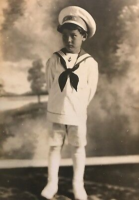 Antique Real Photo Postcard Young Child Sailor Unused