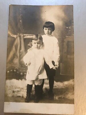 Antique Real Photo Postcard Two Children Nervous Brothers Love Unused
