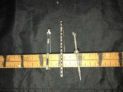 lot of 3 vintage sterling silver bar pin brooch blue stones clear stones 1 as is