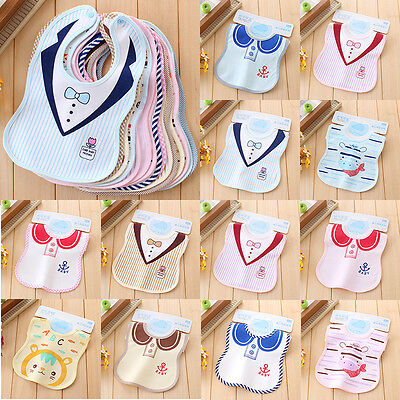 New Kids Toddler Waterproof Soft Cotton Lunch Bibs Infant Baby Saliva Towel Bib