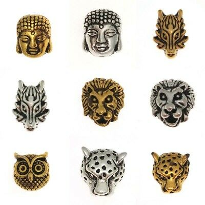 5PCS Gold Buddha Head Lion Owl Dragon Head Charm Alloy Beads Fit Animal Bracelet