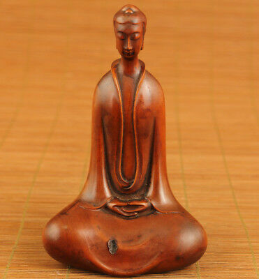 Blessing old boxwood hand carved Buddha statue Lucky gift home decoration