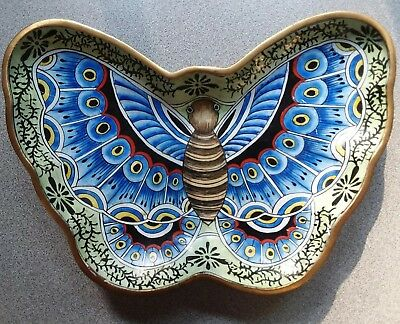 Chinese Hand Painted Enamel Butterfly on Brass, Raised Plate Art, made in China