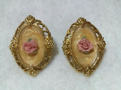 Vintage Avon Victorian Style Ceramic Rose And Enamel Earrings Signed
