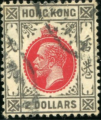 1921/37 - Hong Kong - $2 Carmine-Red And Grey-Black, Used