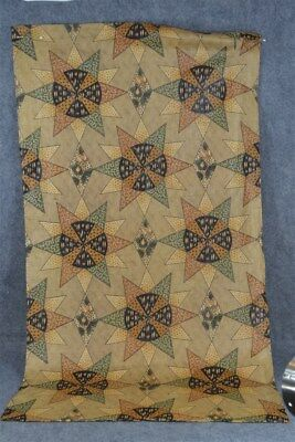 chintz cheater cotton fabric remnant brown star compass repair 19thc antique