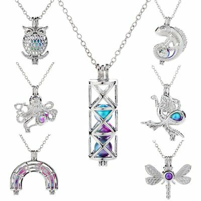 Colorful Pearl Owl Animal Hollow Cage Necklace Pendant Women Child Gift Party
