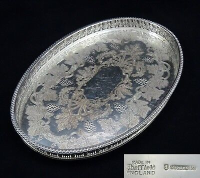 Viners Oval Chased Pierced Gallery Butler Serving Tray Silver Plate On Copper