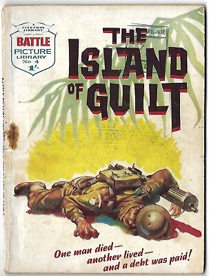 """Dated 1961. Vintage """"BATTLE Picture Library"""" comic #4. """"The Island of Guilt"""""""