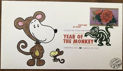2016 Chinese Lunar New Year Of The Monkey FDC DCP Hand Drawn Cachet #/2