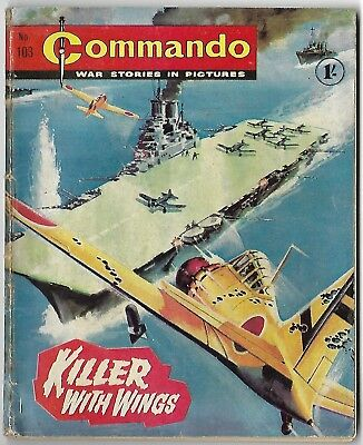 """Dated 1964. Vintage COMMANDO War Picture Comic # 103. """"Killer With Wings"""""""