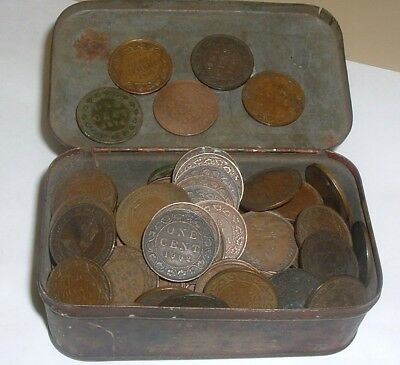 Lot of 130 Canada King George V Large Cent Coins Estate Find In Old Tobacco Tin