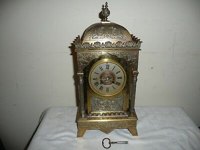 Large Brass Pagoda Style Bracket Clock, French Movement Signed, SF & JD.